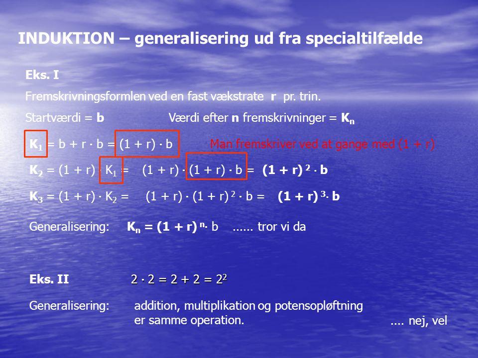 INDUKTION – generalisering ud fra specialtilfælde Eks.
