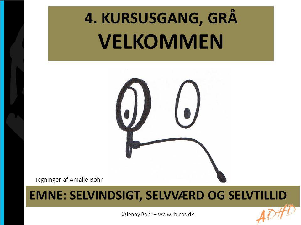 4. KURSUSGANG, GRÅ VELKOMMEN EMNE: SELVINDSIGT, SELVVÆRD OG SELVTILLID ©Jenny Bohr – www.jb-cps.dk Tegninger af Amalie Bohr