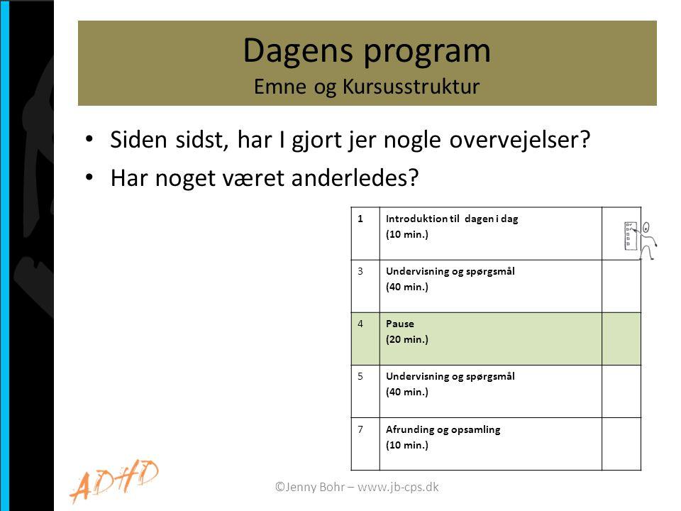 Dagens program Emne og Kursusstruktur 1 Introduktion til dagen i dag (10 min.) 3 Undervisning og spørgsmål (40 min.) 4 Pause (20 min.) 5 Undervisning