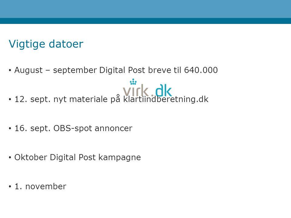 Vigtige datoer August – september Digital Post breve til 640.000 12.
