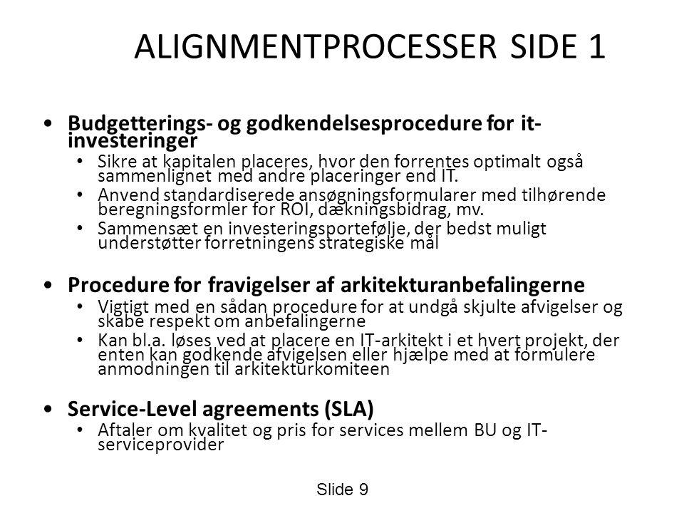 ALIGNMENTPROCESSER SIDE 1 Budgetterings- og godkendelsesprocedure for it- investeringer Sikre at kapitalen placeres, hvor den forrentes optimalt også sammenlignet med andre placeringer end IT.