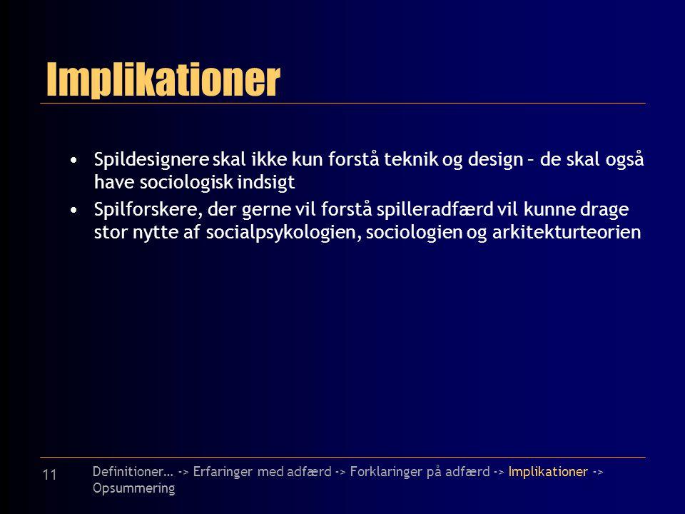 11 Implikationer Spildesignere skal ikke kun forstå teknik og design – de skal også have sociologisk indsigt Spilforskere, der gerne vil forstå spilleradfærd vil kunne drage stor nytte af socialpsykologien, sociologien og arkitekturteorien Definitioner… -> Erfaringer med adfærd -> Forklaringer på adfærd -> Implikationer -> Opsummering