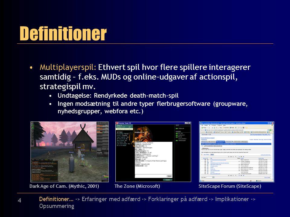4 Definitioner Multiplayerspil: Ethvert spil hvor flere spillere interagerer samtidig – f.eks.