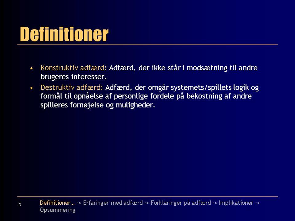 5 Definitioner Konstruktiv adfærd: Adfærd, der ikke står i modsætning til andre brugeres interesser.