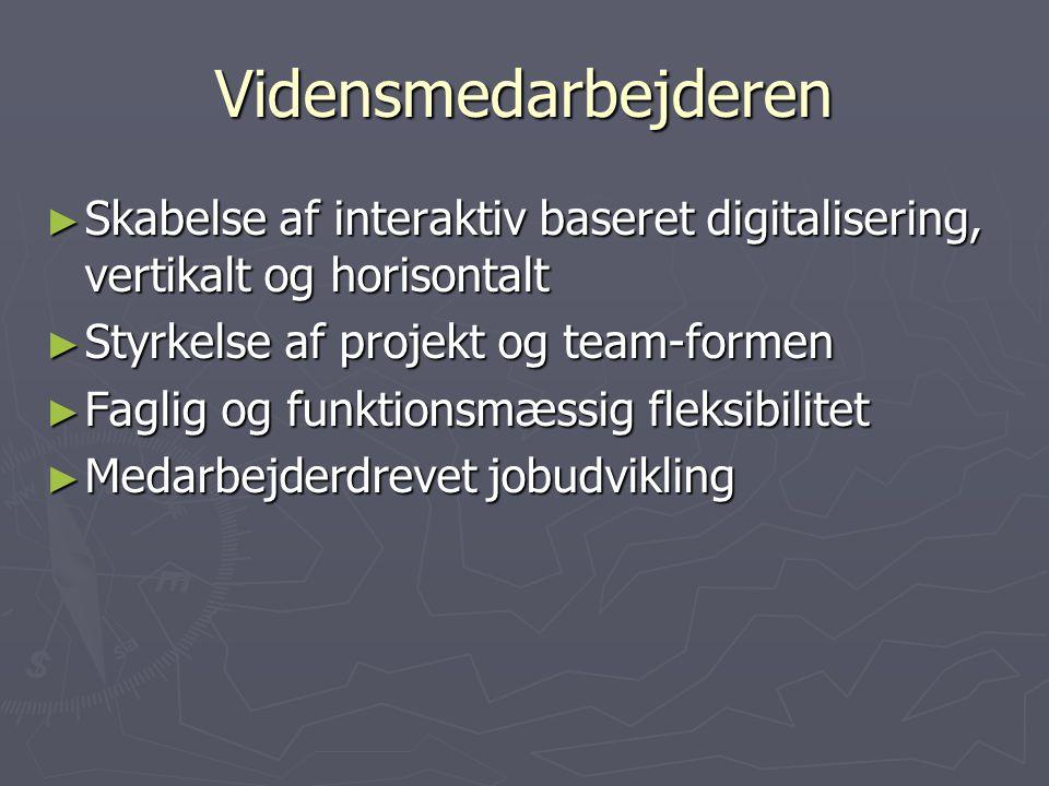 Vidensmedarbejderen ► Skabelse af interaktiv baseret digitalisering, vertikalt og horisontalt ► Styrkelse af projekt og team-formen ► Faglig og funktionsmæssig fleksibilitet ► Medarbejderdrevet jobudvikling