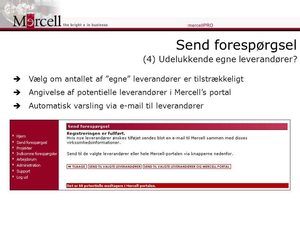Send forespørgsel (4) Udelukkende egne leverandører.