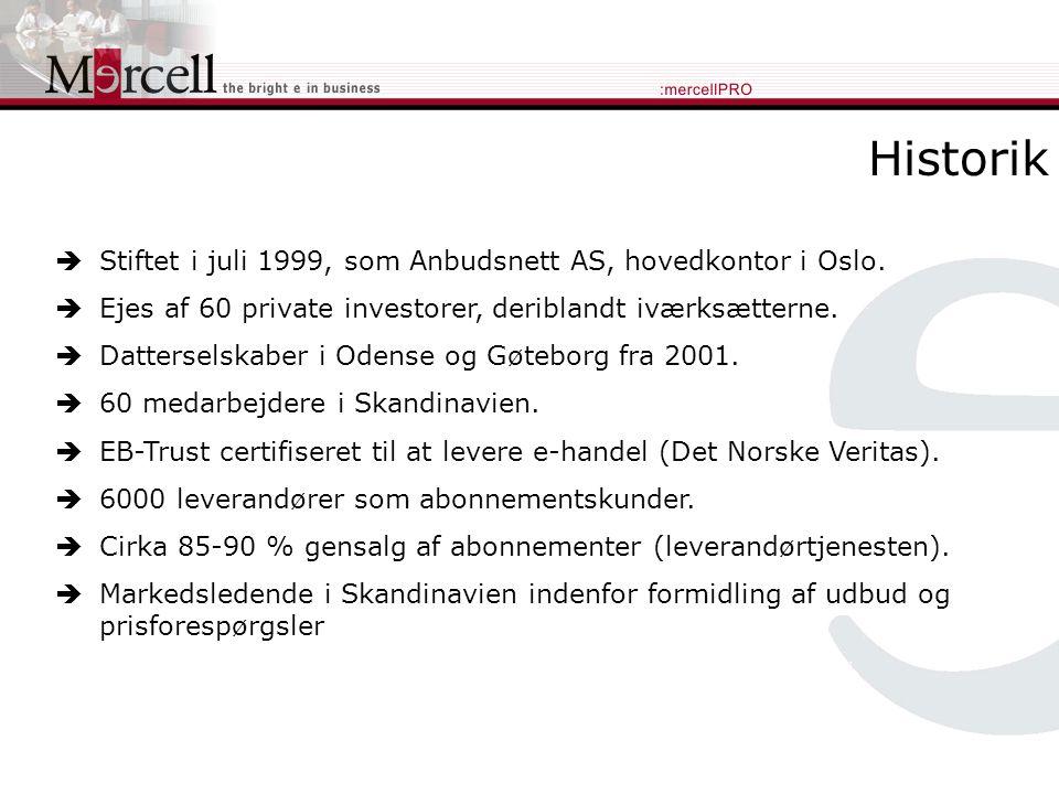 Historik  Stiftet i juli 1999, som Anbudsnett AS, hovedkontor i Oslo.