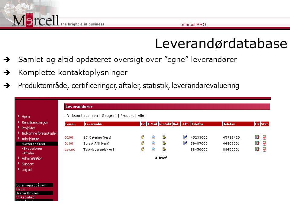 Leverandørdatabase  Samlet og altid opdateret oversigt over egne leverandører  Komplette kontaktoplysninger  Produktområde, certificeringer, aftaler, statistik, leverandørevaluering