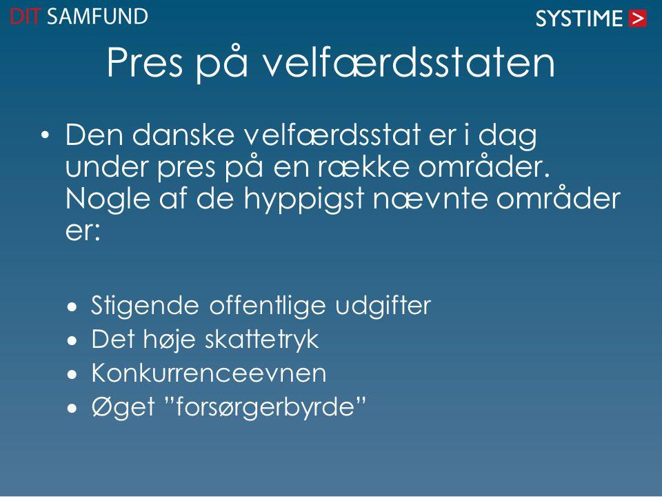 Pres på velfærdsstaten Den danske velfærdsstat er i dag under pres på en række områder. Nogle af de hyppigst nævnte områder er:  Stigende offentlige