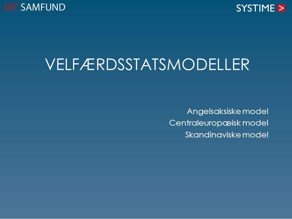 VELFÆRDSSTATSMODELLER Angelsaksiske model Centraleuropæisk model Skandinaviske model
