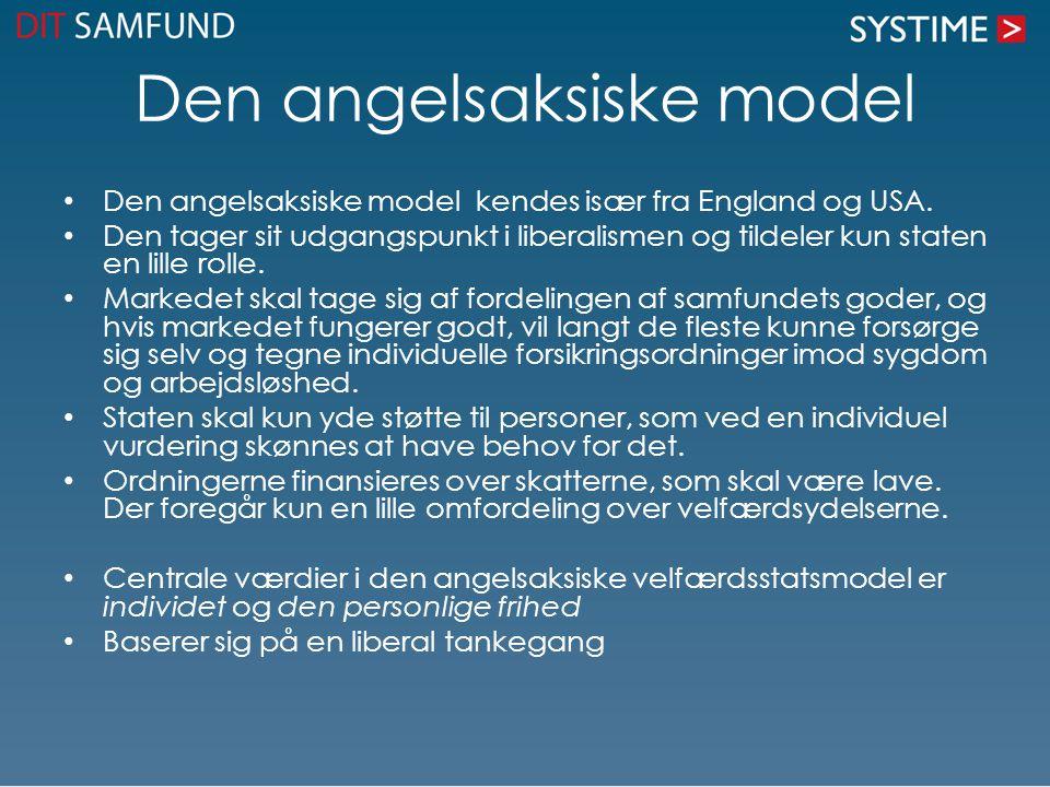 Den angelsaksiske model Den angelsaksiske model kendes især fra England og USA. Den tager sit udgangspunkt i liberalismen og tildeler kun staten en li
