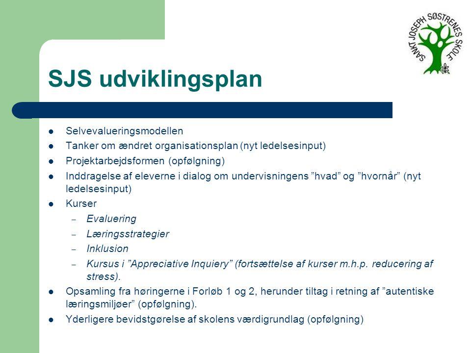 SJS udviklingsplan Selvevalueringsmodellen Tanker om ændret organisationsplan (nyt ledelsesinput) Projektarbejdsformen (opfølgning) Inddragelse af eleverne i dialog om undervisningens hvad og hvornår (nyt ledelsesinput) Kurser – Evaluering – Læringsstrategier – Inklusion – Kursus i Appreciative Inquiery (fortsættelse af kurser m.h.p.