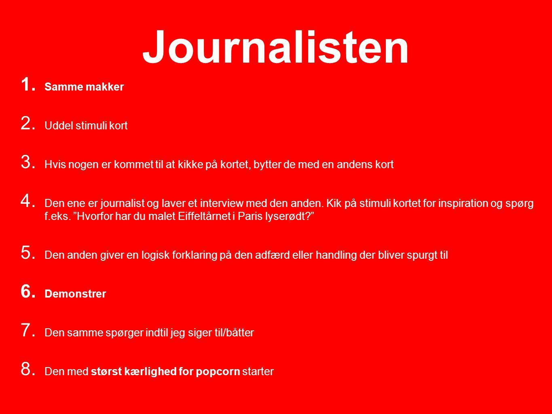 Journalisten 1.Samme makker 2. Uddel stimuli kort 3.