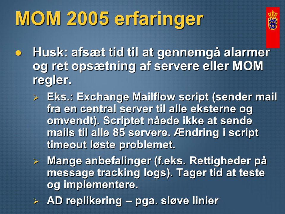 MOM 2005 erfaringer Husk: afsæt tid til at gennemgå alarmer og ret opsætning af servere eller MOM regler.