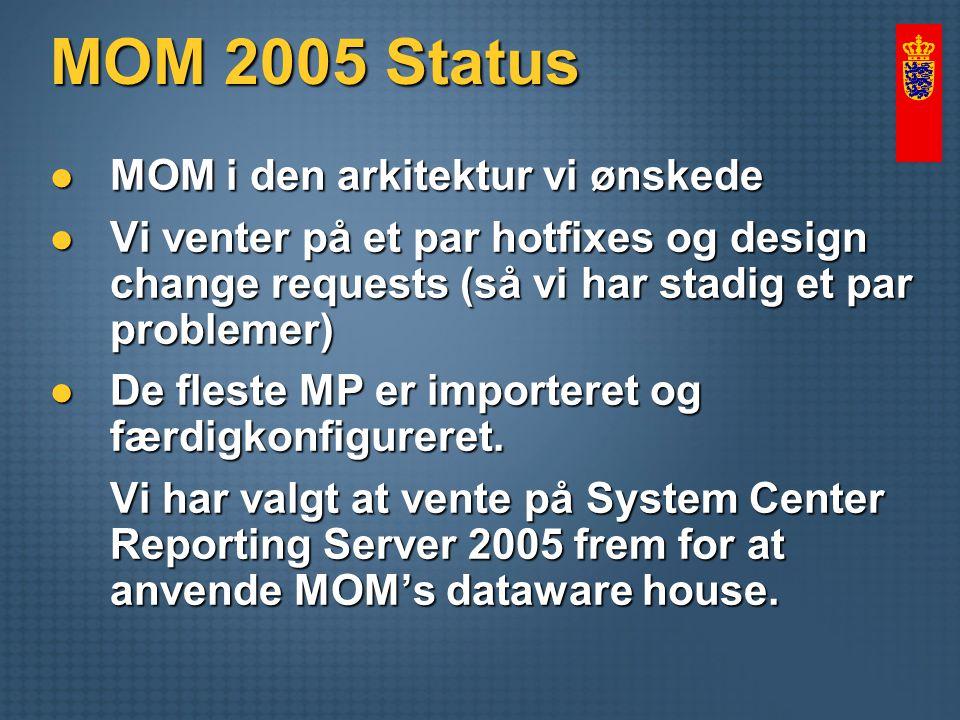MOM 2005 Status MOM i den arkitektur vi ønskede MOM i den arkitektur vi ønskede Vi venter på et par hotfixes og design change requests (så vi har stadig et par problemer) Vi venter på et par hotfixes og design change requests (så vi har stadig et par problemer) De fleste MP er importeret og færdigkonfigureret.