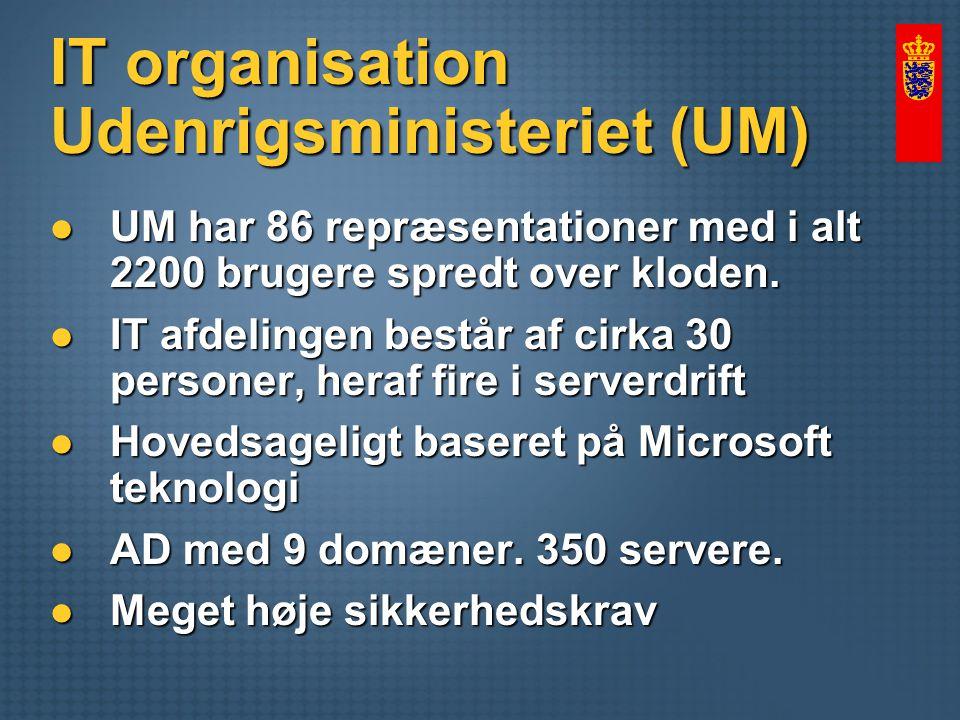 IT organisation Udenrigsministeriet (UM) UM har 86 repræsentationer med i alt 2200 brugere spredt over kloden.