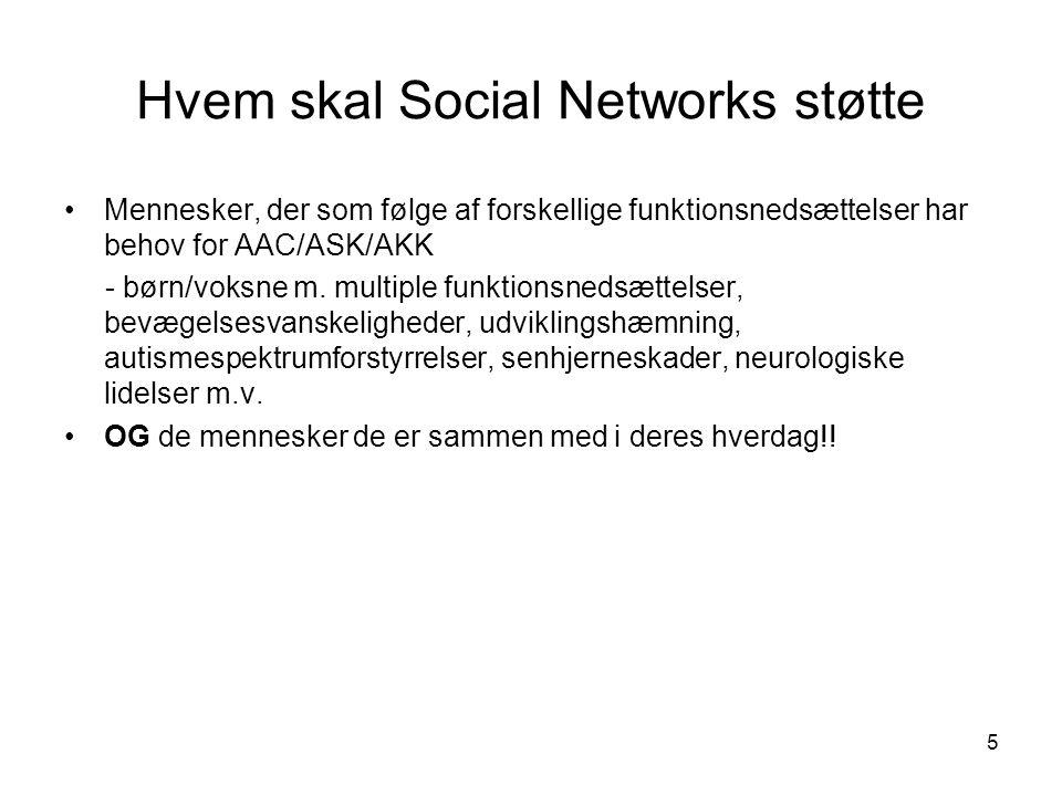 5 Hvem skal Social Networks støtte Mennesker, der som følge af forskellige funktionsnedsættelser har behov for AAC/ASK/AKK - børn/voksne m.