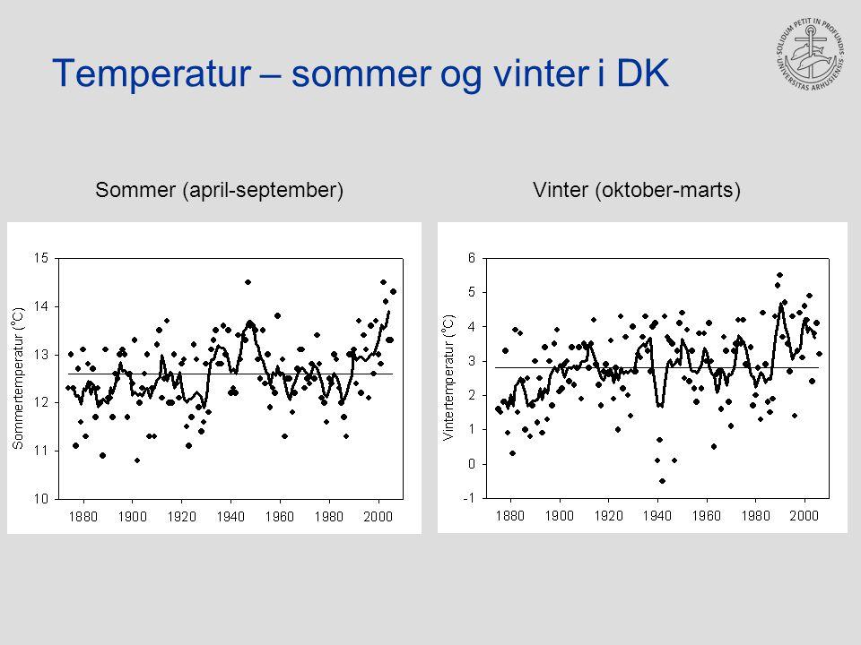 Temperatur – sommer og vinter i DK Sommer (april-september)Vinter (oktober-marts)