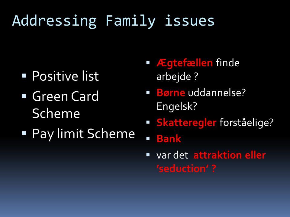 Addressing Family issues  Positive list  Green Card Scheme  Pay limit Scheme  Ægtefællen finde arbejde .