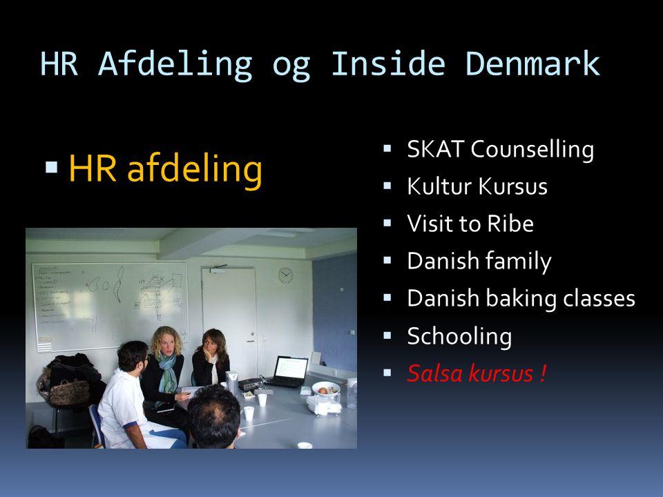 HR Afdeling og Inside Denmark  SKAT Counselling  Kultur Kursus  Visit to Ribe  Danish family  Danish baking classes  Schooling  Salsa kursus .