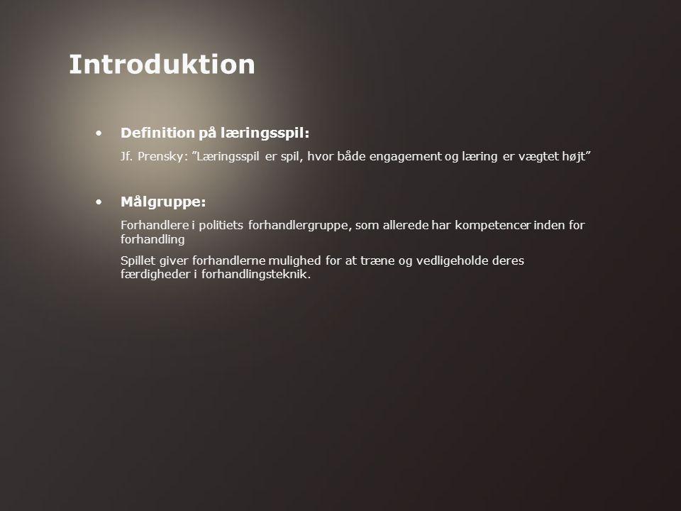Introduktion (Steen) Mål (Steen) Læring contra gameplay (Helle) Playtests (Steen) Dialogen (Helle) Konklusion (Steen + Helle) Fremtidsperspektiver (Steen) Samarbejde med kunden om udvikling af spillet (Helle) Disposition