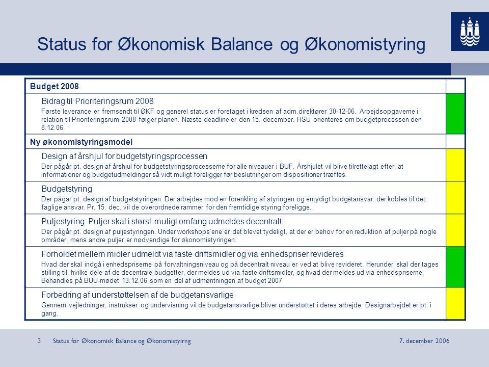 Status for Økonomisk Balance og Økonomistyirng37.