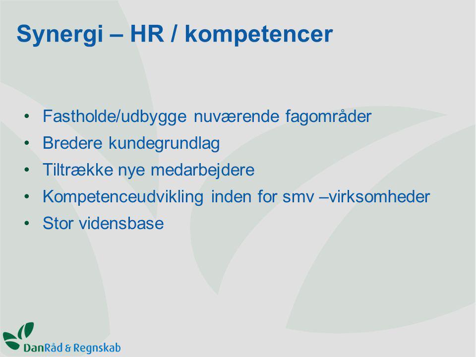 Fastholde/udbygge nuværende fagområder Bredere kundegrundlag Tiltrække nye medarbejdere Kompetenceudvikling inden for smv –virksomheder Stor vidensbase Synergi – HR / kompetencer
