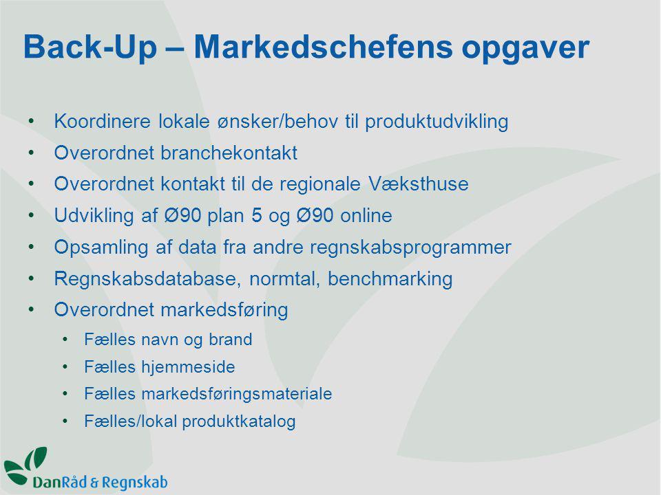 Koordinere lokale ønsker/behov til produktudvikling Overordnet branchekontakt Overordnet kontakt til de regionale Væksthuse Udvikling af Ø90 plan 5 og Ø90 online Opsamling af data fra andre regnskabsprogrammer Regnskabsdatabase, normtal, benchmarking Overordnet markedsføring Fælles navn og brand Fælles hjemmeside Fælles markedsføringsmateriale Fælles/lokal produktkatalog Back-Up – Markedschefens opgaver