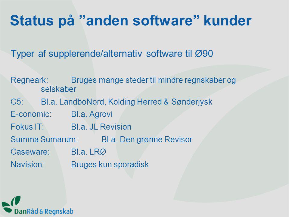 Typer af supplerende/alternativ software til Ø90 Regneark:Bruges mange steder til mindre regnskaber og selskaber C5:Bl.a.