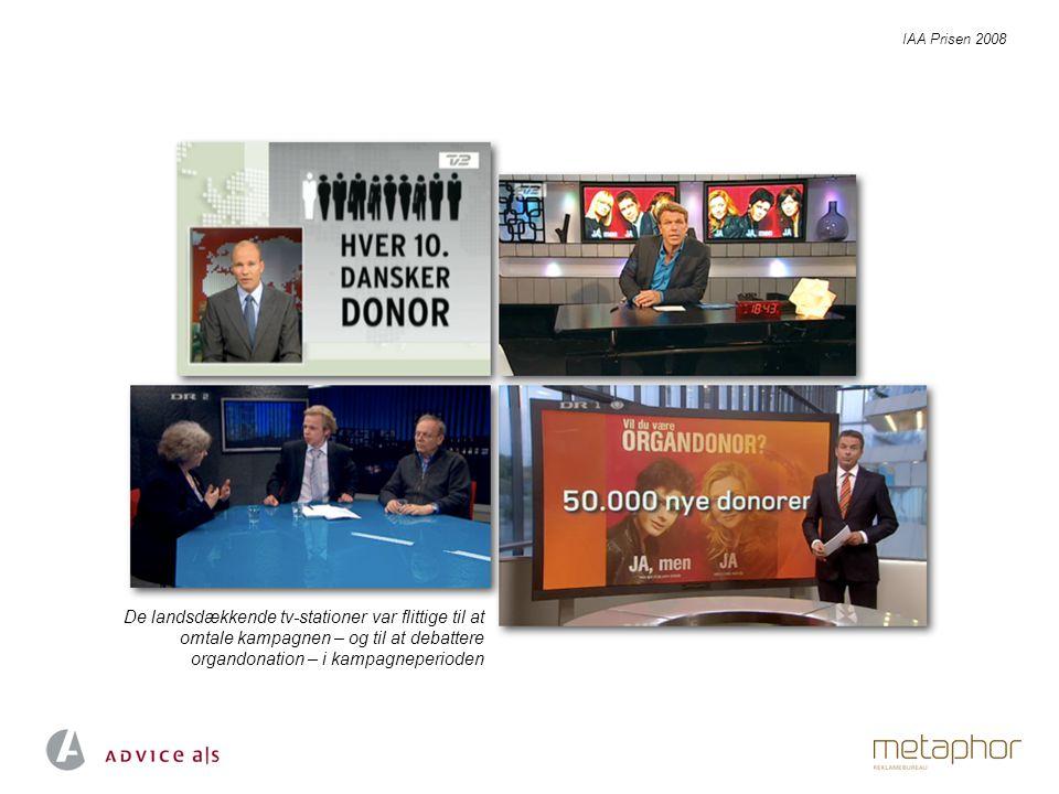 De landsdækkende tv-stationer var flittige til at omtale kampagnen – og til at debattere organdonation – i kampagneperioden