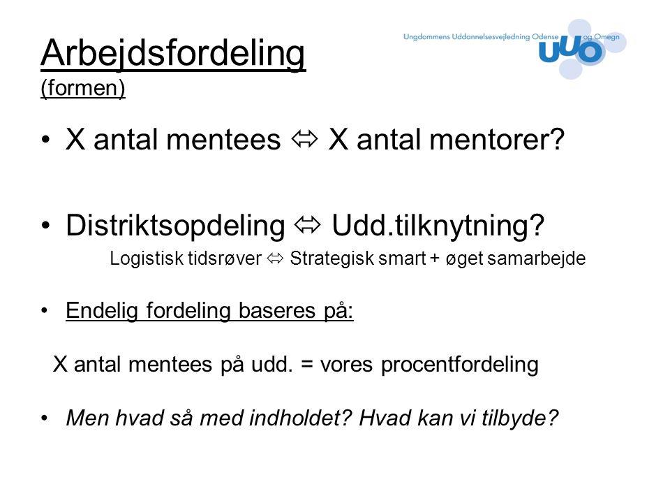 Arbejdsfordeling (formen) X antal mentees  X antal mentorer.