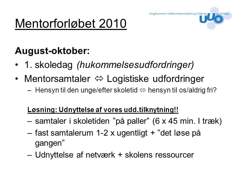 Mentorforløbet 2010 August-oktober: 1.