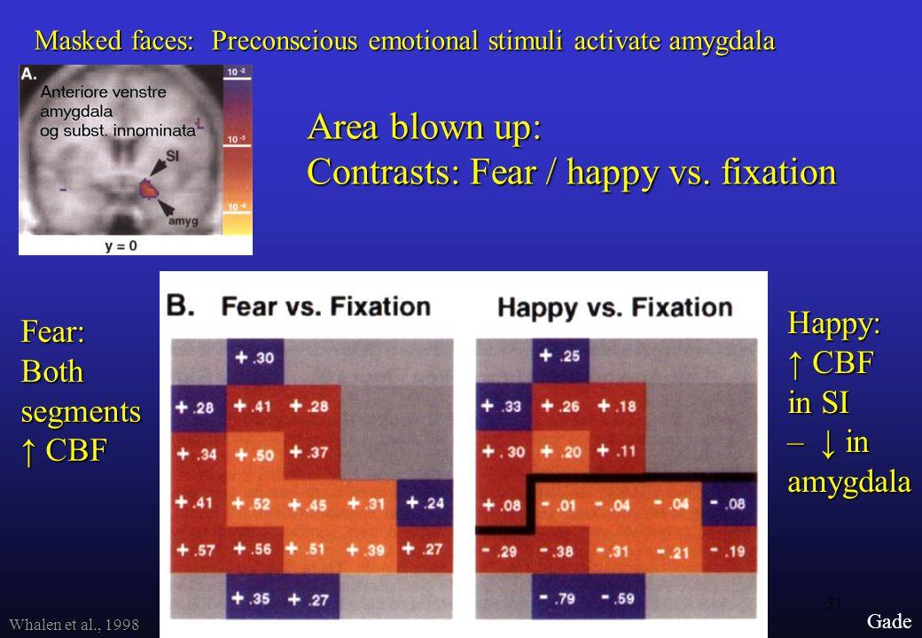 31 Gade Whalen et al., 1998 Area blown up: Contrasts: Fear / happy vs.