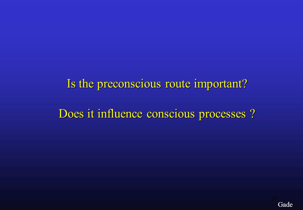 35 Gade Is the preconscious route important Does it influence conscious processes