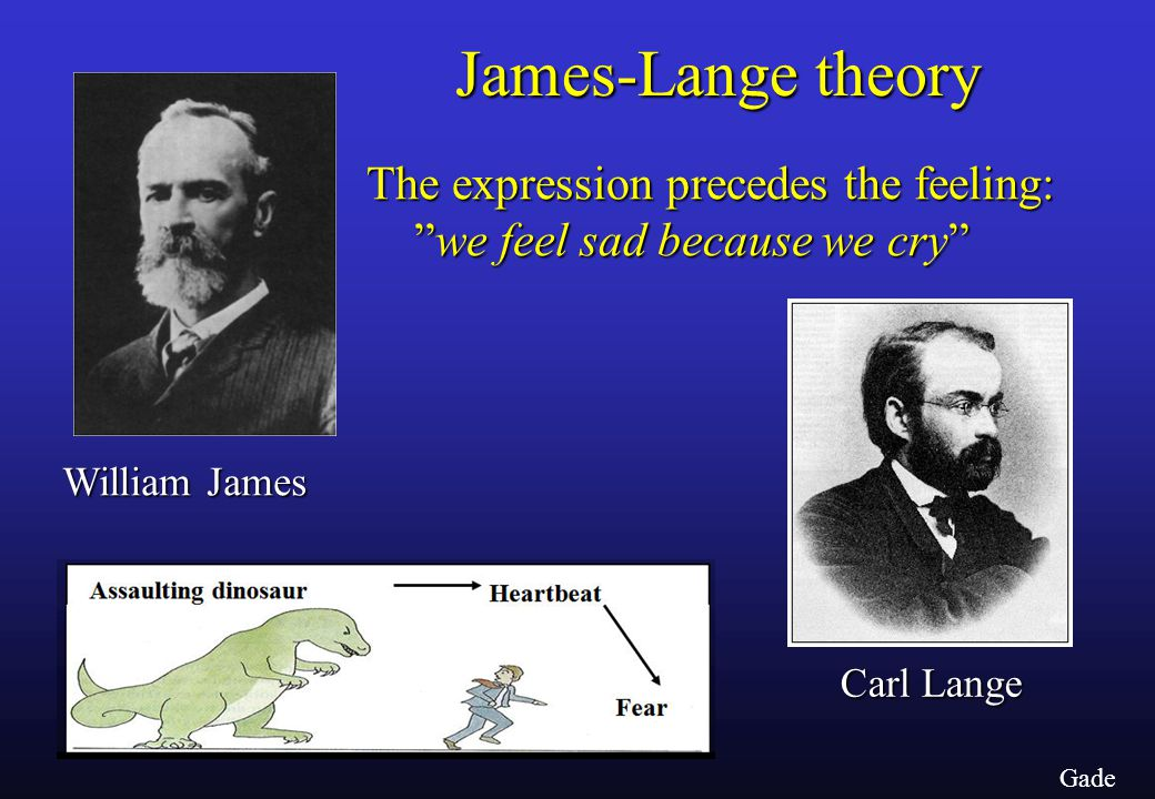 Gade James-Lange theory William James Carl Lange The expression precedes the feeling: we feel sad because we cry we feel sad because we cry