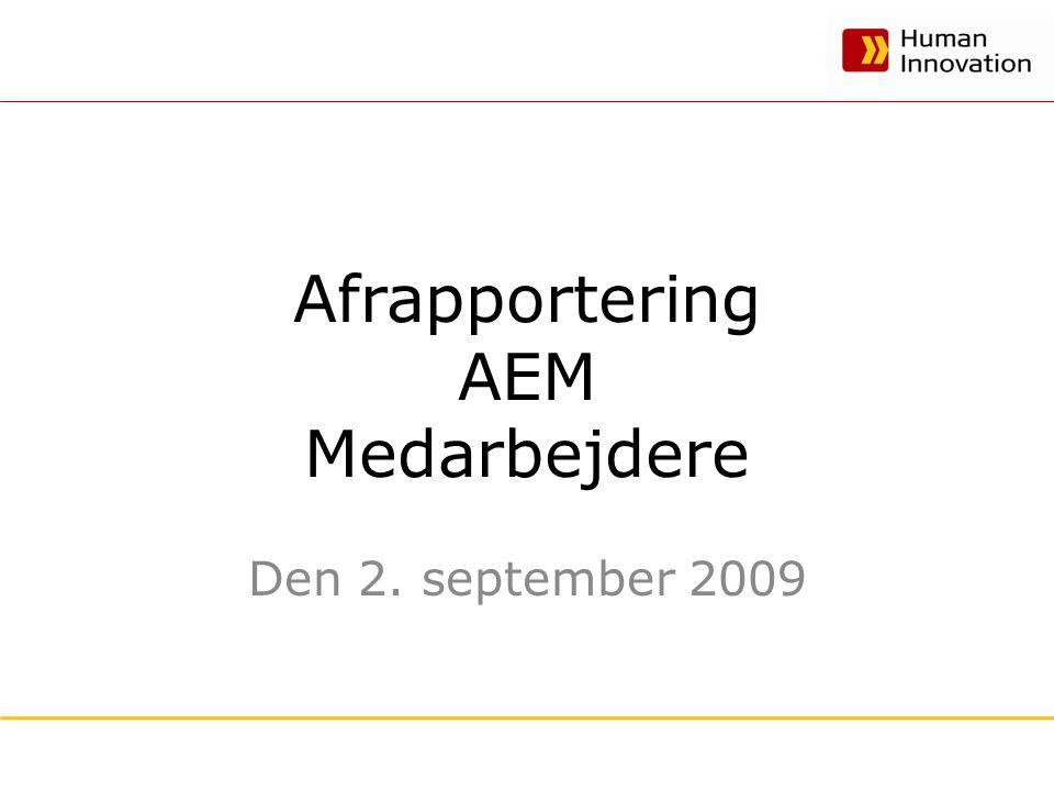 Afrapportering AEM Medarbejdere Den 2. september 2009