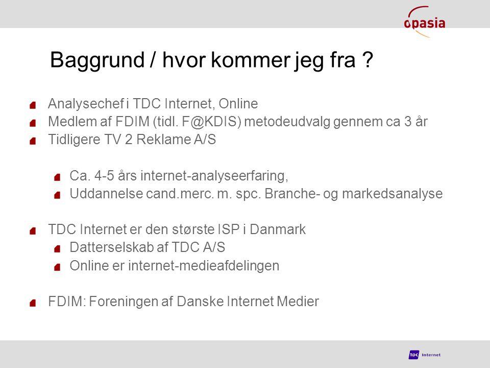 Baggrund / hvor kommer jeg fra . Analysechef i TDC Internet, Online Medlem af FDIM (tidl.