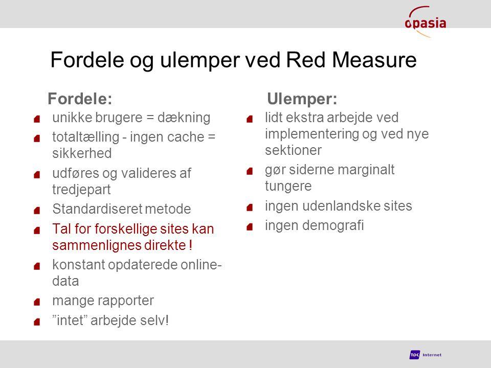 Fordele og ulemper ved Red Measure unikke brugere = dækning totaltælling - ingen cache = sikkerhed udføres og valideres af tredjepart Standardiseret metode Tal for forskellige sites kan sammenlignes direkte .