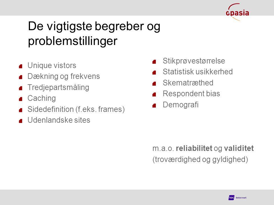De vigtigste begreber og problemstillinger Unique vistors Dækning og frekvens Tredjepartsmåling Caching Sidedefinition (f.eks.