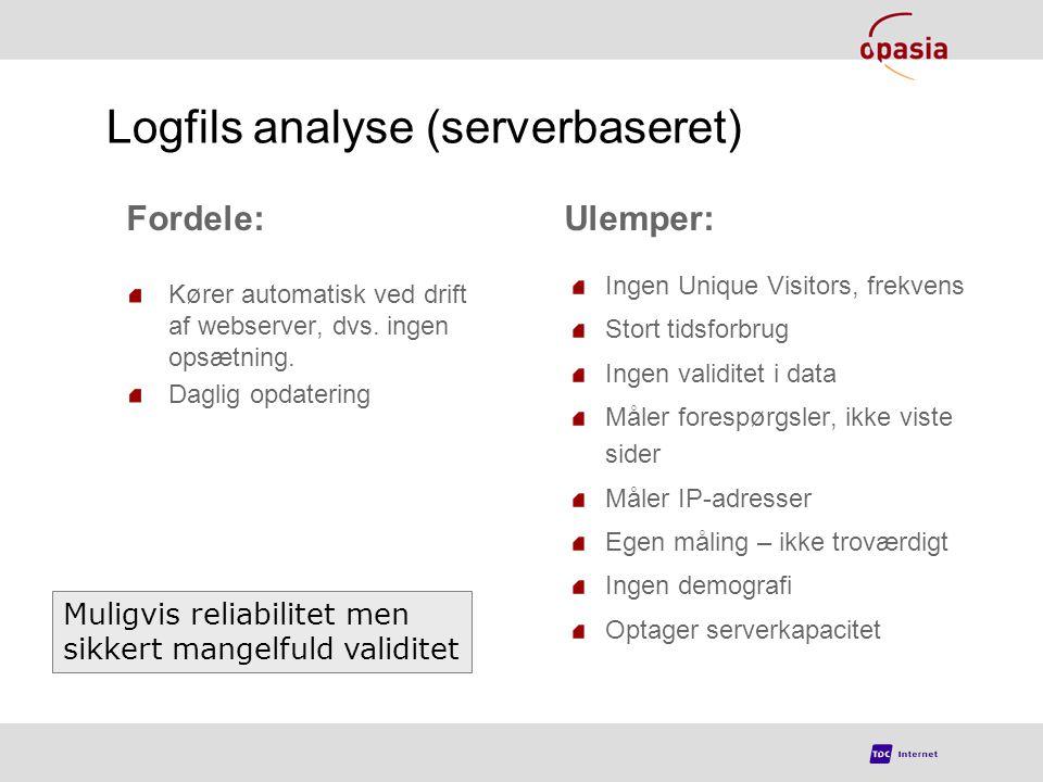Logfils analyse (serverbaseret) Kører automatisk ved drift af webserver, dvs.