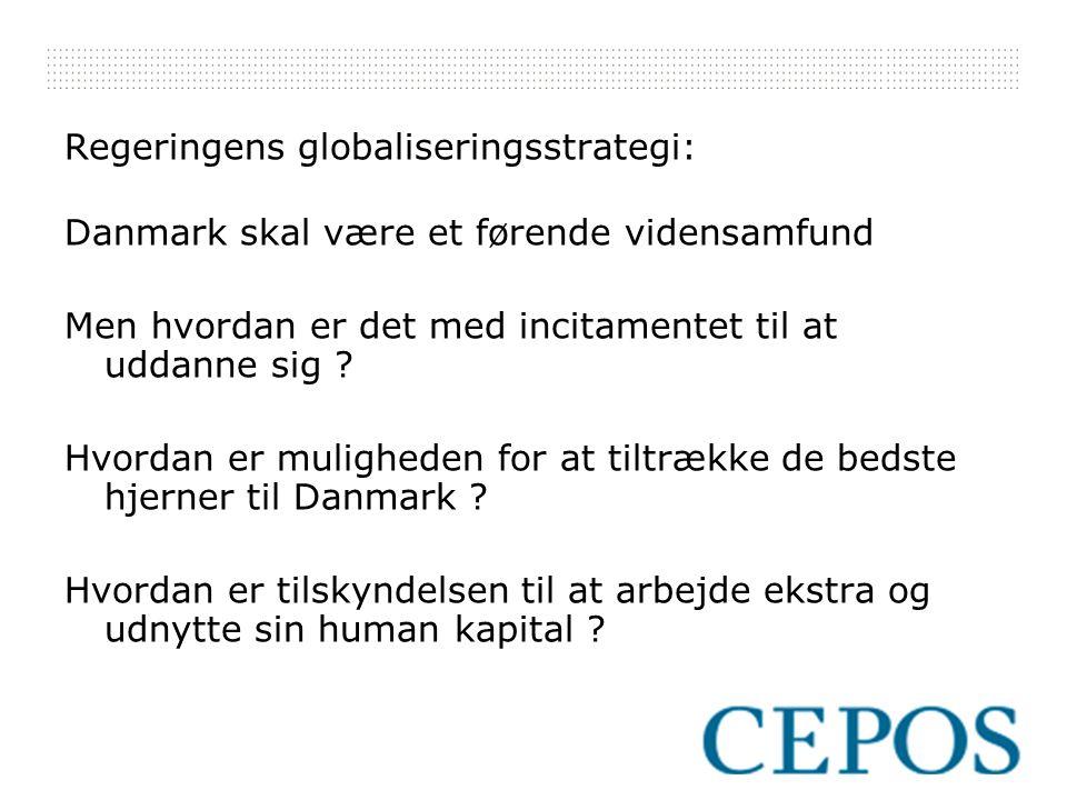 Regeringens globaliseringsstrategi: Danmark skal være et førende vidensamfund Men hvordan er det med incitamentet til at uddanne sig .
