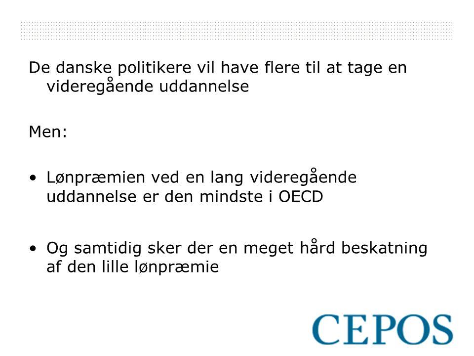 De danske politikere vil have flere til at tage en videregående uddannelse Men: Lønpræmien ved en lang videregående uddannelse er den mindste i OECD Og samtidig sker der en meget hård beskatning af den lille lønpræmie