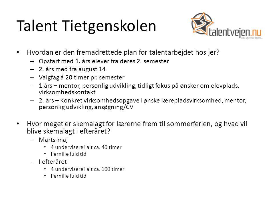 Talent Tietgenskolen Hvordan er den fremadrettede plan for talentarbejdet hos jer.