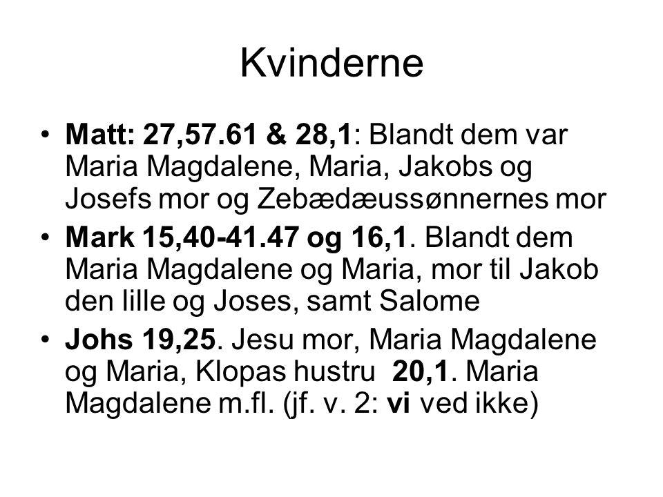 Kvinderne Matt: 27,57.61 & 28,1: Blandt dem var Maria Magdalene, Maria, Jakobs og Josefs mor og Zebædæussønnernes mor Mark 15,40-41.47 og 16,1.