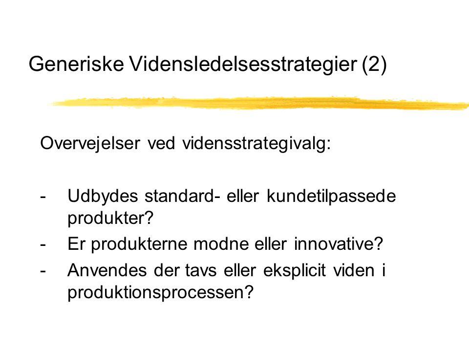 Generiske Vidensledelsesstrategier (2) Overvejelser ved vidensstrategivalg: - Udbydes standard- eller kundetilpassede produkter.