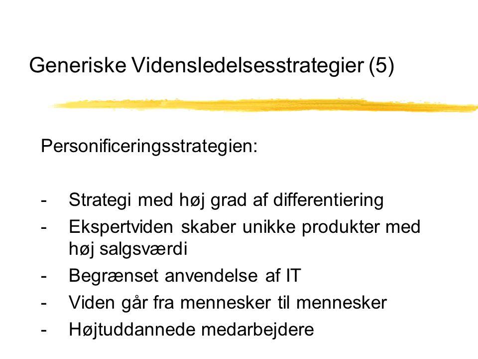 Generiske Vidensledelsesstrategier (5) Personificeringsstrategien: - Strategi med høj grad af differentiering - Ekspertviden skaber unikke produkter med høj salgsværdi - Begrænset anvendelse af IT - Viden går fra mennesker til mennesker - Højtuddannede medarbejdere