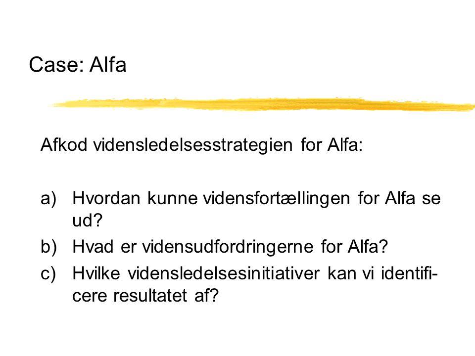 Case: Alfa Afkod vidensledelsesstrategien for Alfa: a) Hvordan kunne vidensfortællingen for Alfa se ud.