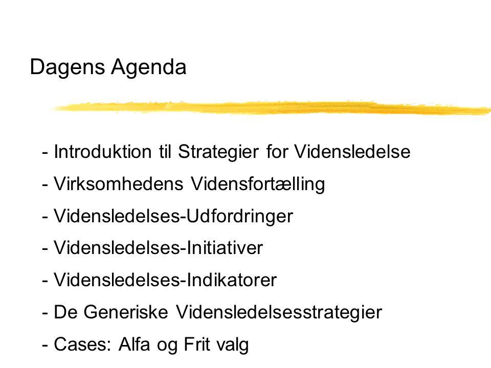 Dagens Agenda - Introduktion til Strategier for Vidensledelse - Virksomhedens Vidensfortælling - Vidensledelses-Udfordringer - Vidensledelses-Initiativer - Vidensledelses-Indikatorer - De Generiske Vidensledelsesstrategier - Cases: Alfa og Frit valg