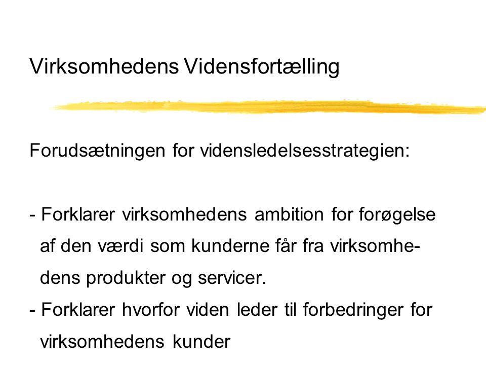 Virksomhedens Vidensfortælling Forudsætningen for vidensledelsesstrategien: - Forklarer virksomhedens ambition for forøgelse af den værdi som kunderne får fra virksomhe- dens produkter og servicer.