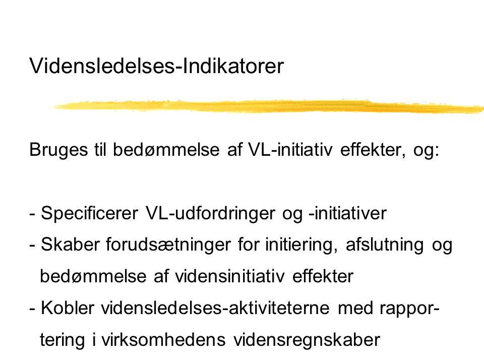 Vidensledelses-Indikatorer Bruges til bedømmelse af VL-initiativ effekter, og: - Specificerer VL-udfordringer og -initiativer - Skaber forudsætninger for initiering, afslutning og bedømmelse af vidensinitiativ effekter - Kobler vidensledelses-aktiviteterne med rappor- tering i virksomhedens vidensregnskaber
